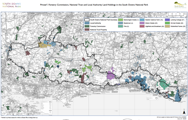 South Downs NPA landowner map screenshot