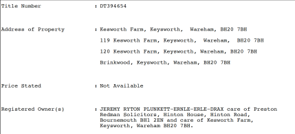 Land title for Kesworth Farm